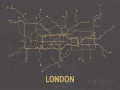 London (Dark Gray & Mustard) Serigrafia