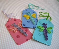 Dragonfly tags - Quilled Creations Quilling Gallery