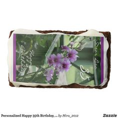 Shop Personalized Happy Birthday, Lisa (Orchids) Chocolate Brownie created by Personalize it with photos & text or purchase as is! No Bake Brownies, Chocolate Brownies, Chocolate Flavors, Birthday Brownies, Happy 35th Birthday, Artificial Food Coloring, Confectioners Glaze, Polysorbate 80, Purple Lilac