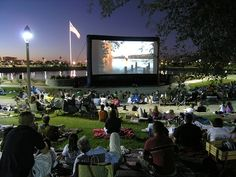 Outdoor movie night.    We have this in Fergus Falls  its awesome