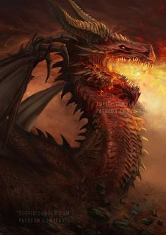 Firkraag Red Dragon from Baldur's Gate 2 preview by luffie Mythological Creatures, Fantasy Creatures, Mythical Creatures, High Fantasy, Fantasy Art, Final Fantasy, Dragon Medieval, Baldur's Gate, Cool Dragons