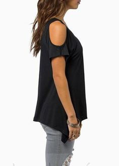 Relipop Women Hollow Out Casual Shirt Short Sleeve Off Shoulder Tunic Tops (X-Large, Black)