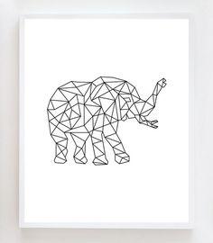 8x10 Geometric Elephant Wall Art Print