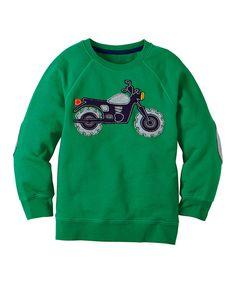Look at this #zulilyfind! Go Green Motorcycle Sweatshirt - Infant, Toddler & Boys by Hanna Andersson #zulilyfinds