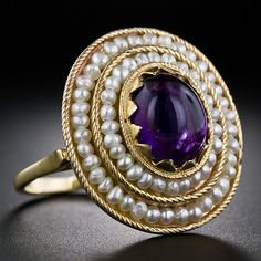 Vintage Cabochon Amethyst and Seed Pearl Ring, 1930s