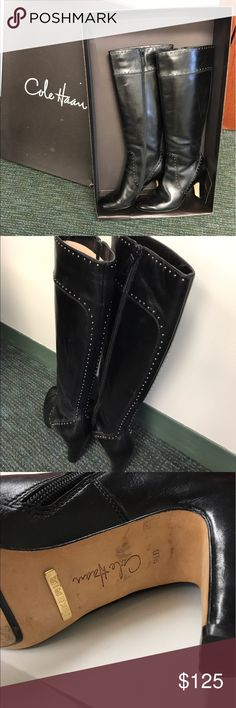 Cole Haan Tall Black Boots with Nike Air Fantastic Cole Haan tall black boots with Nike Air technology. Boots have only been worn once and are super comfortable and stylish. Cole Haan Shoes Heeled Boots
