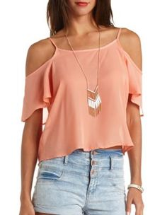 caged back cold shoulder swing top