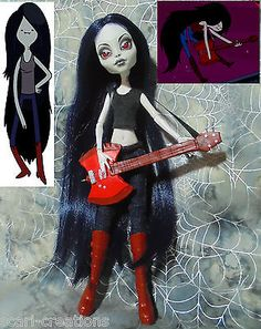 Monster High OOAK Custom Repaint By Scari ~ Adventure Time ~ Marceline - Goth