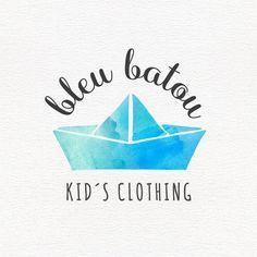 Children logo watercolor paper boat clothing branding by 11Left