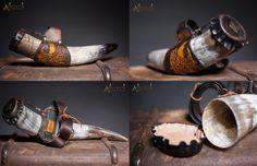 Handmade, Ornate Horn holder with big Horns and belt ( , ) bis