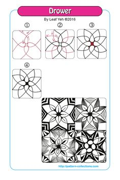 Drower Tangle, Zentangle Pattern by Leaf Yeh Tangle Doodle, Tangle Art, Zen Doodle, Doodle Art, Zentangle Drawings, Doodles Zentangles, Doodle Drawings, Flower Drawings, Doodle Patterns