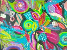 Mixed Media-On Canvas-Melanie Birk: Petals & Pinwheels