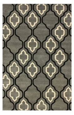 Tuscan Dawn Moroccan Trellis Titanium Rug tufted wool 7'6x9'6 $220 out of stock. also 6x9 $152 - too small?