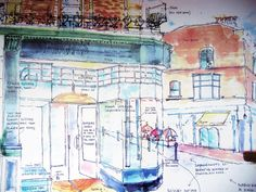 Watercolour scketch, for Victorian timber shop front.