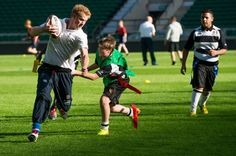 Prince Harry visited the RFU All School program coaching event at Twickenham Stadium 17 Oct 2013