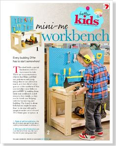 Kids workbench. Clipped from Better Homes and Gardens using Netpage.