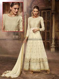 Cream Faux Georgette N Silk Anarkali Salwar Suit