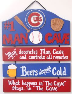Chicago Cubs Baseball Sports man cave sports bar sign chicago cubs baseball sports decor baseball party sign baseball fans 2016 champs by UCsportsbyBill on Etsy