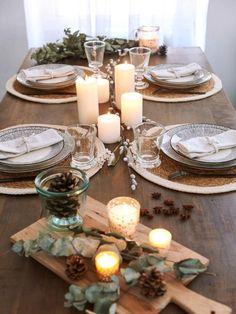 Décoration de la table de Noël simple, naturelle et végétale - inspiration du nouveau catalogue de Noël 2018 Maisons du Monde