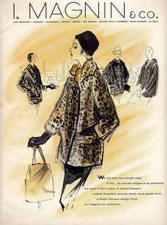1955 I. Magnin fashion Illustration for Vogue ~ vintage leopard coat  1950s fashion