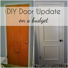 Home Renovation Tips Door Update Transformed our ENTIRE Home… on a budget – Her Humble Home - This DIY door refresh was a simple and inexpensive project that TRANSFORMED our entire home. Home Remodeling Diy, Home Renovation, Bathroom Remodeling, Basement Renovations, Home Improvement Projects, Home Projects, Porta Diy, Casa Disney, Motif Art Deco
