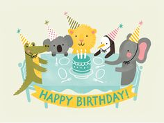 Wish your little one Happy Birthday with this tea party themed card! It features an alligator, koala, lion, penguin and elephant, illustrated by Jacqui Lee. Details: Provided with a silver envelope. (L: cm x W: cm) Made in the UK Happy Birthday Kids, Happy Birthday Images, Happy Birthday Wishes, Birthday Greetings, Birthday Cards, Animal Party, Party Animals, Birthday Design, Happy B Day