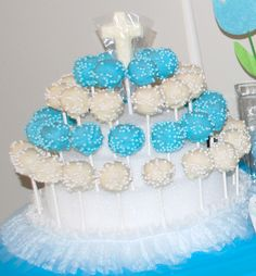 boy christening baptism party cake pops poppers