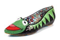 Irregular Choice Muppets Kermit The Frog Black Sequin Flat Ballet Shoes
