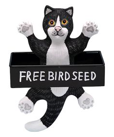 Take a look at this Dangling Black & White Cat Metal Birdfeeder today!
