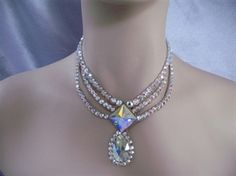 Swarovski Crystal Square front and Pear drop Ballroom Necklace