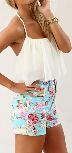 Floral shirts and white blouse. Hot Summer Combination. Floral short and pale yellow halter style top.