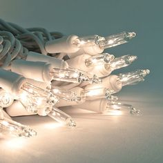 6v Replacement Mini Light Bulbs - 100 CLEAR Mini Christmas Lights - WHITE base