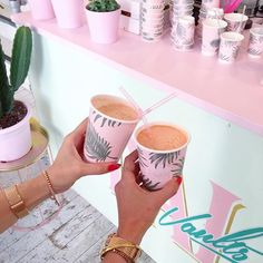 A recent survey concluded that 100% of Belle & Buntys are happier on Sunday…  drinks, pink, palm tree cups, watch