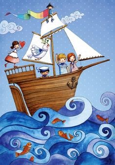Ship at sea Artist Illustration by www.MilaMarquis.com and www.Facebook.com/MilaMarquisillustration