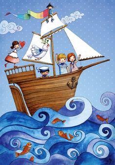 Ship at sea Artist Painting For Kids, Art For Kids, Decoration Pirate, Children's Book Illustration, Whimsical Art, Art Lessons, Illustrators, Folk Art, Art Drawings