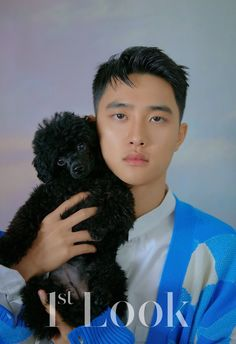 Do Kyungsoo & Park So Dam for Look Magazine Korea, Vol. Kyungsoo with his real pet, black toy poodle, Meokmul. Kyungsoo, Kaisoo, Exo Ot12, Shinee, Park So Dam, The Underdogs, Look Magazine, Exo Korean, Korean Guys