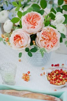 blush garden roses + summer tablescape
