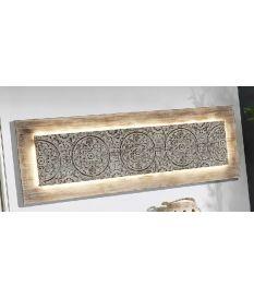 Cuadro mural tallado blanco con leds de 150x50 cm paneles de madera tallada - Paneles decorativos madera tallada ...
