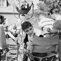 Audrey on the set of 'Sabrina', 1954
