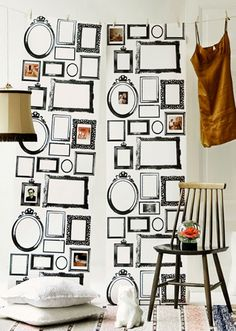 Renew your walls with this stylish Family wallpaper from Lisa Bengtsson. The design is a white bottom with different frames on. Put your own pictures in the frames or hang up your jewelry and get a personal look, or just let the pattern be as it is. Family Wallpaper, Photo Frame Wallpaper, Framed Wallpaper, Modern Wallpaper, Home Wallpaper, Beautiful Wallpaper, Hanging Wallpaper, Wallpaper Display, Wallpaper Panels