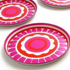 hot pink and orange vintage tin coasters