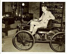 Henry Ford with an 1896 Ford Quadricycle, the precursor to the Model A. Today is the 149th anniversary of Henry Ford's birth.