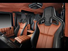 2012 Vilner Land Rover Defender Cream black caramel leather upholster sport seat interior car