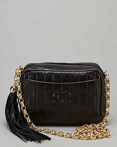 b4c45e504976 Chanel Vintage Black Quilted Lambskin Tassel Camera Bag
