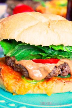 Toasted Jalapeno Cheddar Bun Burgers with BBQ Mayo - Make it Low Carb by serving with favorite bun, sub Panko in meat mixture - this burger IS super flavorful – infused with garlic, shallots, cumin, smoked paprika, oregano, salt, pepper and Worcestershire sauce