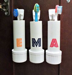 DIY Toothbrush Holder Ideas for Kids - Small Bathroom Decorating Ideas on a Budget