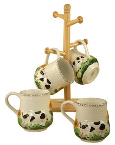 Lot of 2 Mugs Coffee Tea Cow Bovine Geese Goose White Grey Country Farm 3 t Cow Kitchen Decor, Cow Decor, Kitchen Cabinets Decor, Kitchen Themes, Vintage Kitchen Decor, Kitchen Decorations, Kitchen Ideas, Layout Design, Cow Ornaments