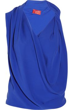 LANVIN  Draped silk-georgette top