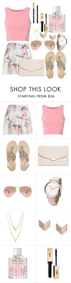 """Untitled #168"" by fifi82101 ❤ liked on Polyvore featuring Zimmermann, Glamorous, Antik Batik, Mansur Gavriel, Ray-Ban, FOSSIL, Jimmy Choo and Yves Saint Laurent"