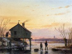 Schelfhout Andreas Scaters at wooden house Sun « Schelfhout Andreas « Artists « Art might - just art Dutch Painters, Traditional Paintings, Wooden House, Winter Landscape, Winter Scenes, Ancient Art, Artist Art, Lovers Art, Landscape Paintings